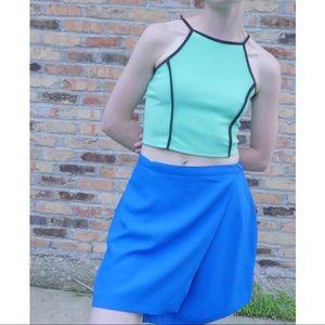 Cobalt Blue Wrap Mini Skirt